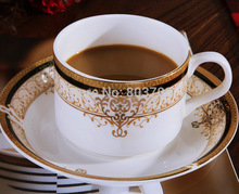 Fashion 15pcs bone china coffee sets Europe gold trim tea sets ceramic coffee cup set