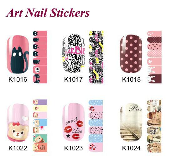 3D Design cute DIY Tip Nail Art nail stickers nails Decal nail tools 1 Sheets K1001-K1056(China (Mainland))