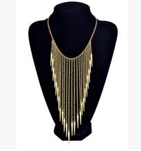 New Designer Retro colar Vintage ouro colar longo borla cadeia Punk colares e pingentes 2015 bijuterias elegante(China (Mainland))