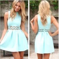 2015 Promotion Freeshipping Cotton Oxford A-line Tropical Vestidos Femininos Vestido De Renda New Women Sleeveless A Word Dress