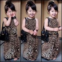 2015 new  Children Clothing Summer girls leopard Sleeveless, Teenage Girls Dresses   leopard dress Halter Dress Size3-12T