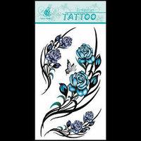 (12pcs) Free Shipping 2015 New Temporary Tattoo Sexy Flash Women Fake Makeup Large Waterproof Body Tattoo Stickers -Rose Flowers