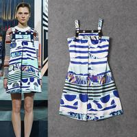 Runway 2015 New Spring Women's Dress Fashion Stripe Semi-circle Spaghetti Strap Casual Dress Sleeveless A-line All-match Dress