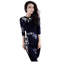2015 New Spring Women's Knitted Dress Vintage Charming Luxurious Beading Slim Wool Knitted Dress Full Sleeve Basic Dress