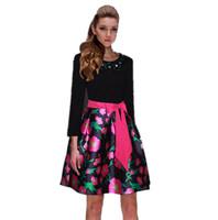 2015 Newest Spring Women's Casual Dress Fashion Diamonds Bow Flowers Print Dress Full Sleeve Elegant Puff Cute Dress Plus Size