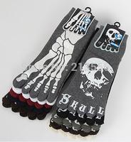 1lot=6pairs=12pcs Funny skull claw toe socks cotton toe socks for men free shipping