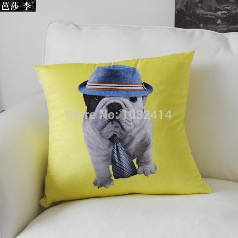 Yellow microfiber fleece base with cool handsome bullldog printed cushion cover/pillowcase/pillow sham throws 45x45cm(China (Mainland))