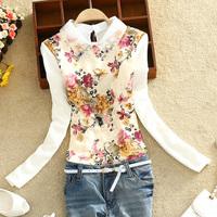 2015 plus size clothing lace basic shirt plus velvet thickening peter pan collar long-sleeve lace shirt free shipping