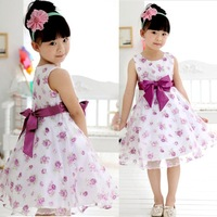 2015 Hot Summer Cute Girls Kids Casual Dresses Sleeveless Flower Rose Big Bowknot Sleeveless Purple Princess Party Dress