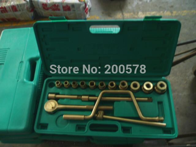 "Aluminum Bronze Non Sparking Hand Tools ------- 1/2"" Dr Socket Set 17pcs(socekt 10~32mm)(China (Mainland))"