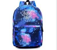VIXX fluorescent color backpack shoulder bag Korean female college students wind sports bag backpack schoolbag kpop vixx bts exo
