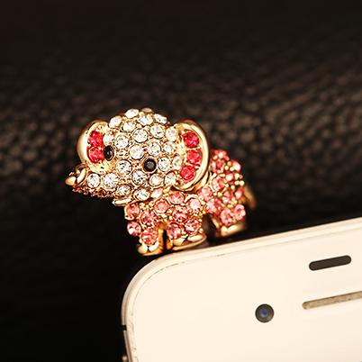Bling Diamond Gem Cap Earphone Jack elephant Anti Dust Plug For Samsung Galaxy S4 PWD0036(China (Mainland))