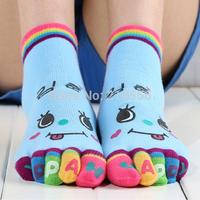 Thin female models cute cartoon toe socks toe socks female sub-thin summer cotton Funny toe socks free shipping