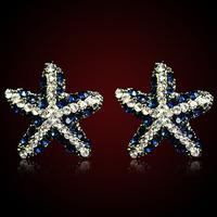 QMODE 2015 Cute Seahorse Seastar Stud Earring Delicate Luxury Blue Crystal Shiny Star Ear Stud Free Shipping