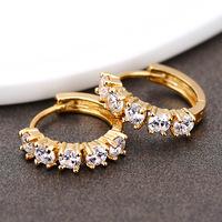 for Women Men Clear Crystal Zircon 18K Gold Plated Cross Drop Dangle Pendant Hoop Ear Earrings Jewelry brinco femininas