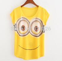 Hot selling!2015 summer t shirt women spring women's letter smiling little yellow man 100% cotton short-sleeve T-shirt