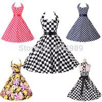 Vestidos plus size Cotton Rockabilly pin up 60s 50s Vintage dresses retro Audrey swing polka dots Women Print Casual Dress 6076
