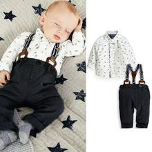 Date 2PCS Set Outfit Baby Boy Toddler T -shirt + pantalon à bretelles Top ensemble Costume 3M - 2A(China (Mainland))