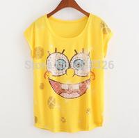 Hot selling!New 2015 Women t Shirt Summer Short Sleeve SpongeBob Printed Cotton Casual T-Shirt Tee Blouse Tops