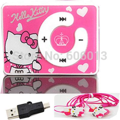 1pcs/lot cheapest fashion mini clip hello Kitty MP3 player +mini USB+Earphone(China (Mainland))