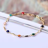 Free Shipping!Fashion 18K Gold Plated Bracelet Bangle Multicolor Zircon Heart Bracelet V3NF