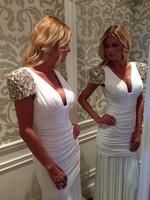 vestidos 2015 latest women dress sequined short sleeve dress ruffle bag hip waist dress epaulets Women summer dress