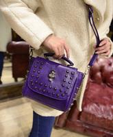 Free shipping 2015 women's handbag the shoulder bag small bags rivet skull messenger bag autumn and winter cross-body