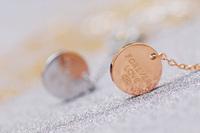 Love circle fashion rose gold necklace short design decoration