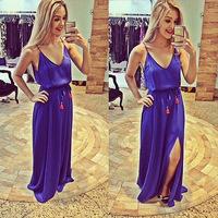 casual dress 2015 vestidos halter straps and ground long purple dress sleeveless dress women summer dress tropical