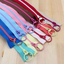 2015 New! Bright color 30cm 3# Resin contrast color zipper fashion pull ring zipper head DIY handwork Bag Close-End 10Pcs/lot (China (Mainland))