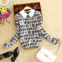 2015 winter women plus velvet thickening turn-down collar pullover print long-sleeve basic shirt female basic top free shipping