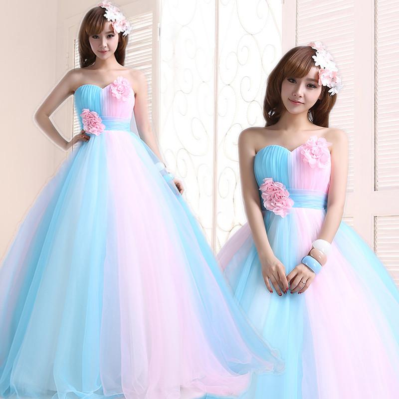 Princesa Tube Top Puff falda 15 vestido de Quinceanera Sky Blue Pink ...