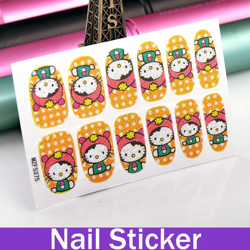 1 Sheet Cartoon Kitty Cartoon Nail Polish Strips Stickers art nail pictures(China (Mainland))