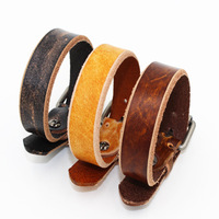 New 2015 Fashion vintage genuine leather male punk buckle bracelet accessories jewelry