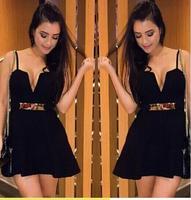 women summer dress 2015 Sleeveless Black Mini Backless Prom Dresses Party Dress Gowns Vestidos vestido de festa