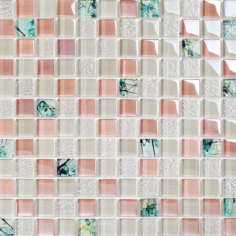 TST crystal glass tiles nature rural style bamboo floral hand painted art mosaic bathroom wall backsplash tub deco border 11 PCS(China (Mainland))