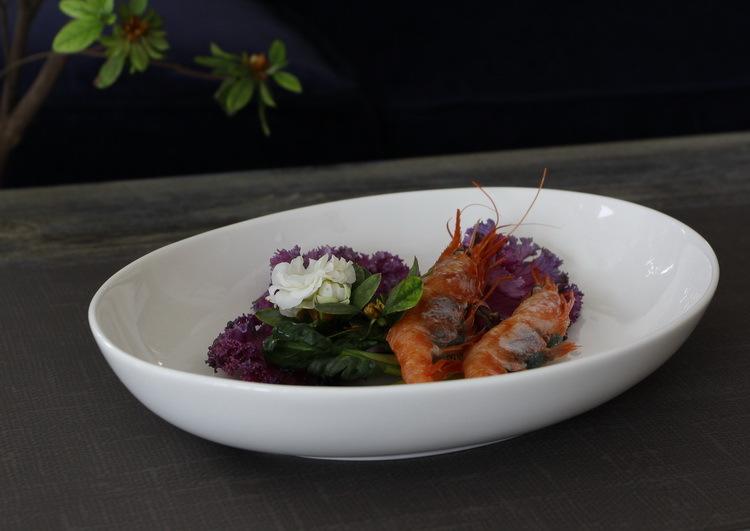 New bone china ceramic tableware trade minimalist white porcelain fish bowl oval bowl salad bowl meals Baked Italian vanities(China (Mainland))