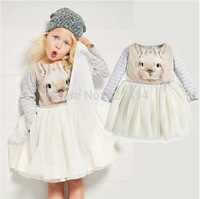 Hot sell girl Adorable princess dress with an bunny photo-print long-sleeved top full tutu dress for Autumn winter