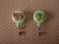 2015 Hot!!  Variety Butterfly Design Retractable ID Badge Reels 10pcs/lot