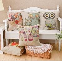 """18"""" 45*45cm Owl Bird Linen Sofa Cushion Cover High Quality Throw Pillow Cover Pillow Case Almofadas decorativas"""