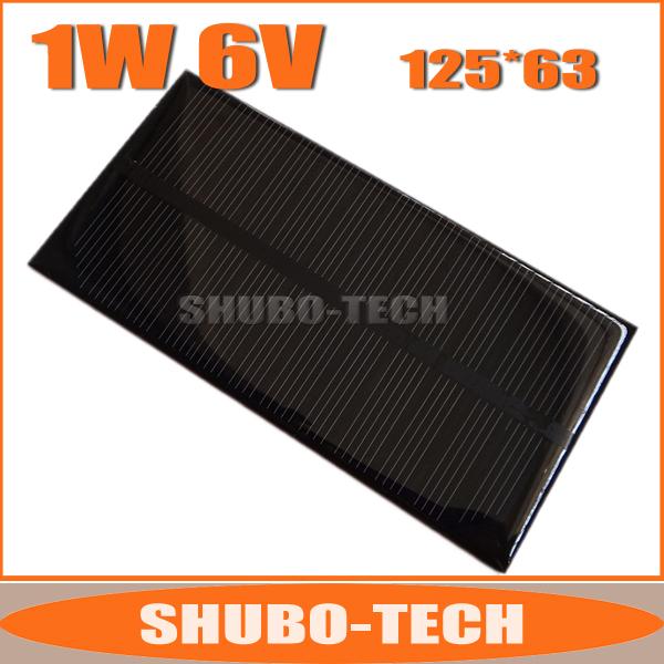 125*63mm A Grade High Efficiency Mini Monocrystalline Silicon Solar Panel 6V 1W, DIY Epoxy Solar Cell Module Free Shipping(China (Mainland))