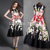 Fashion Vintage 2015 Fresh Print high Waist slim medium-long Dress 100%Polyester Women's Dresses