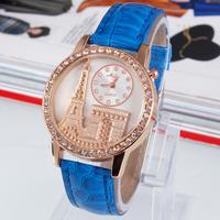 New Fashion Paris Eiffel Tower Leather Strap Watches,Women synthetic diamond Set Quartz Wristwatch 9 colors