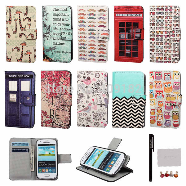 New Fashion Style Stand Flip Cell Phone PU Leather Wallet With Card Holder For Samsung Galaxy S3 mini 8190+Gifts(China (Mainland))