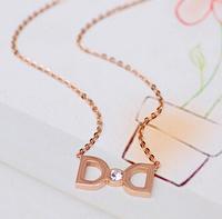 Korean necklace bow accessories for female short design