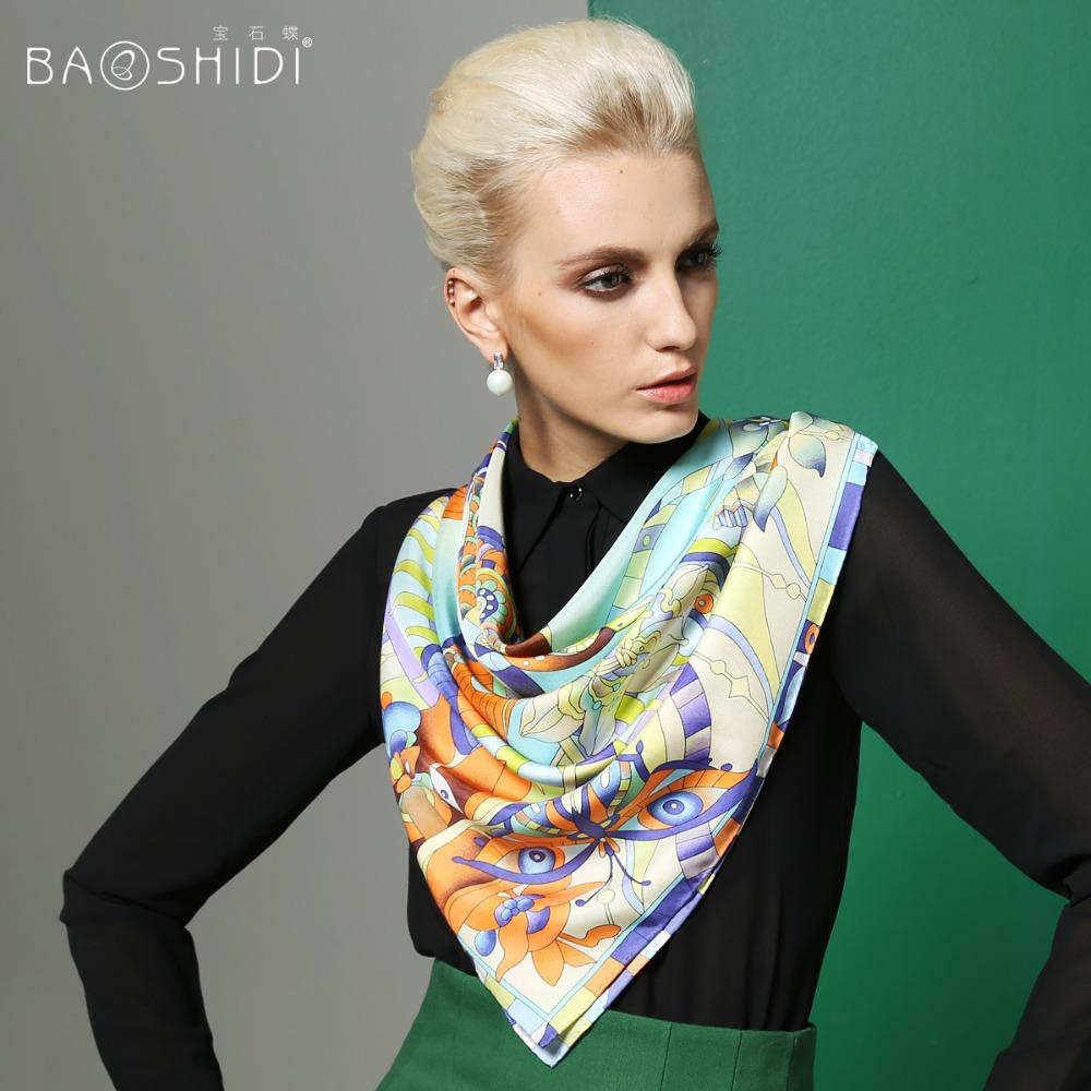 2015 new spring 100% silk big square scraf 90cm x 90cm woman mulberry silk scarves lady silk shwal swallow(China (Mainland))