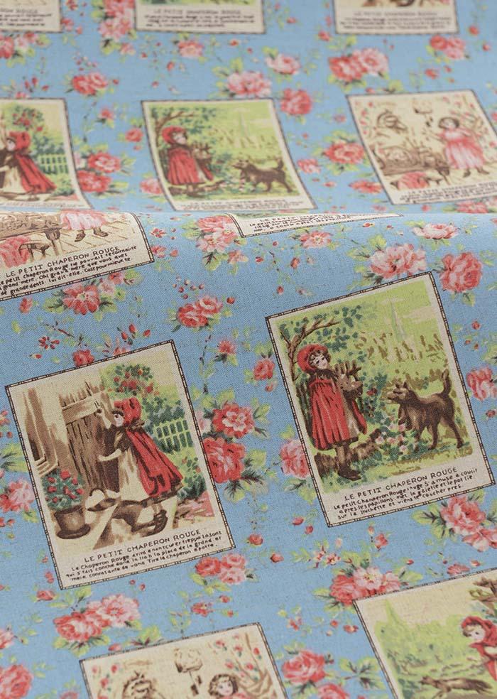 Special offer Retro Blue Girl Stamp Printed Zakka Linen fabrics Tablecloths cloth cushion pillow linen fabric 50x140cm(China (Mainland))
