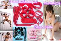 DHL 10sets Under the bed Restraints kit for couple, 7 in 1 sex  toy, Underbed restraint system set, sex  rope Adult products
