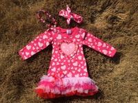 2015 new baby girls ribbon heart hot pink valentine dress