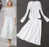 High Quality New Fashion Clothing Set Women White TShirt Long Sleeve Tops+Casual Sunflower Skirt(1Set) Sweet Ladies Shirt Skirt